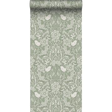 wallpaper flowers and birds grayish green