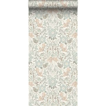 wallpaper flowers and birds grayed vintage blue, brown and soft pink