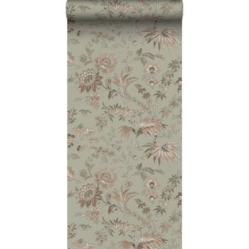 wallpaper vintage flowers grayed mint green and soft pink