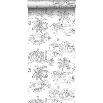 wallpaper jungle black and white