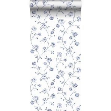 wallpaper toile de Jouy roses white and blue