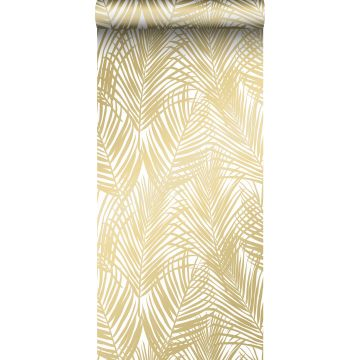 wallpaper palm leafs gold and white
