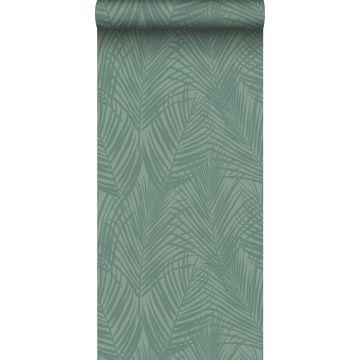 wallpaper palm leafs grayish green