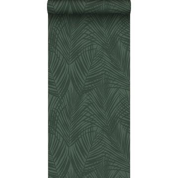 wallpaper palm leafs dark green