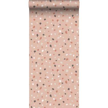 wallpaper terrazzo soft pink, white and gray