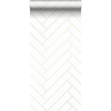 wallpaper herring bone pattern white and gold