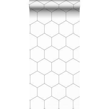 wallpaper hexagon black and white