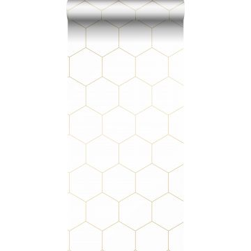 wallpaper hexagon white and gold