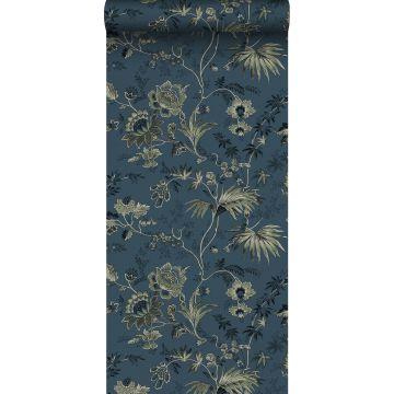 wallpaper vintage flowers dark blue and olive green