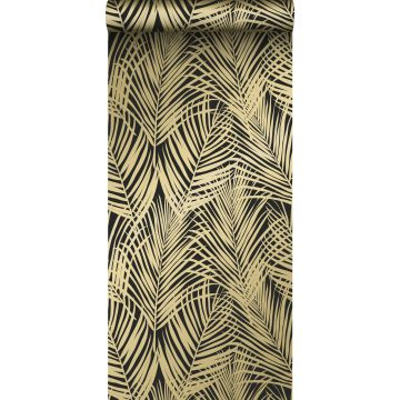 wallpaper palm leaves black and gold