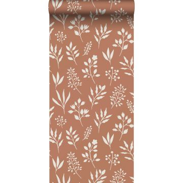 wallpaper floral pattern in Scandinavian style terracotta and white