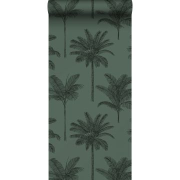 wallpaper palm trees dark green