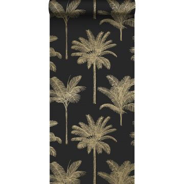 wallpaper palm trees black and gold
