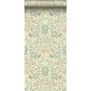 wallpaper flowers and birds brown, grayed vintage blue and soft pink