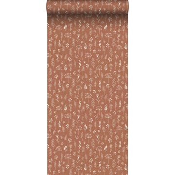 wallpaper floral pattern terracotta and white