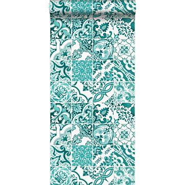 wallpaper tile motif turquoise