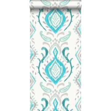 wallpaper baroque print turquoise