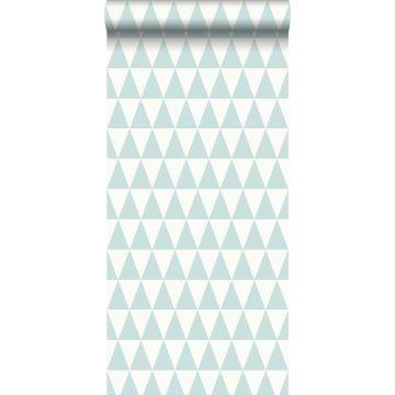wallpaper graphic geometric triangles mint green and matt white
