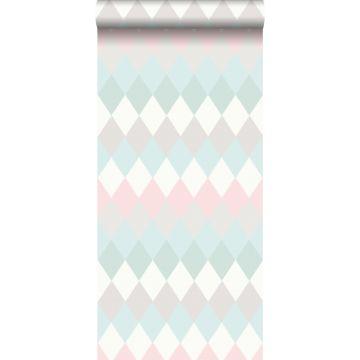 wallpaper rhombus motif with linen texture mint green, pastel powder pink and light warm gray