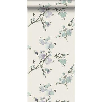 eco texture non-woven wallpaper cherry blossoms beige and lilac purple