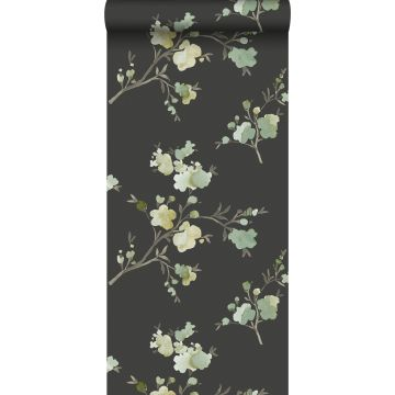 eco texture non-woven wallpaper cherry blossoms green, mustard and black