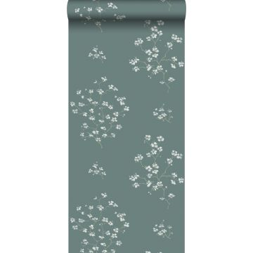wallpaper blossom branches petrol green