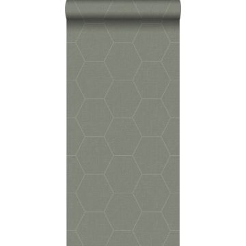 wallpaper hexagon greyed olive green