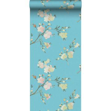 eco texture non-woven wallpaper cherry blossoms Van-Gogh-blue