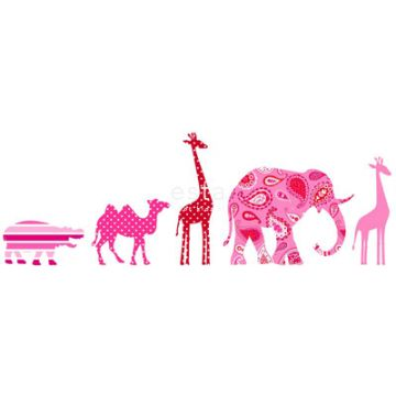 non-woven wallpaper border XXL animals pink