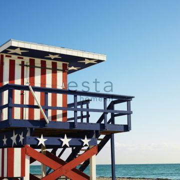 wall mural beach house red, white and blue