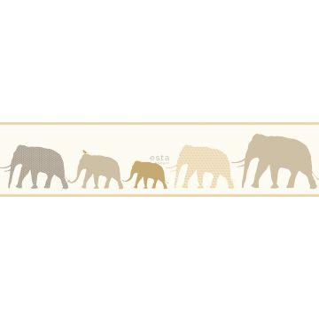 non-woven wallpaper border XXL elephants beige
