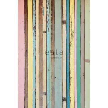 wall mural painted wood light pink, yellow, blue and green
