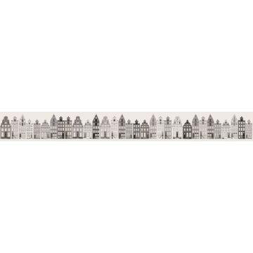 non-woven wallpaper border XXL Amsterdam canal houses gray