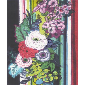 wall mural flowers black, red, blue, white and green
