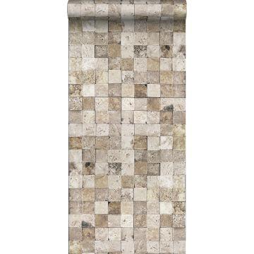 non-woven wallpaper XXL marble squares beige