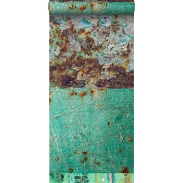 non-woven wallpaper XXL patchwork rusty weathered metal plates sea green and brown