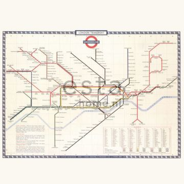 wall mural London Tube subway map beige, red and blue
