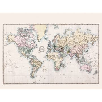 wall mural vintage map of the world beige, pastel yellow, pastel powder pink and green