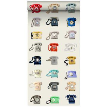 non-woven wallpaper XXL retro telephones beige, gray, red and blue