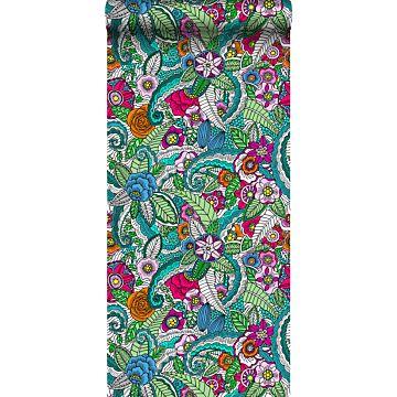 non-woven wallpaper XXL flower mandala pink, green, orange, purple and blue