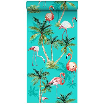 non-woven wallpaper XXL flamingos turquoise, green and pink