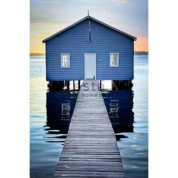 wall mural beach house blue, gray and evening red