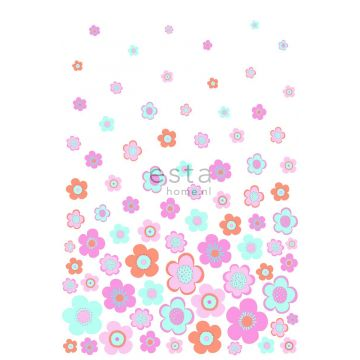 wall mural vintage flowers turquoise, pink and purple