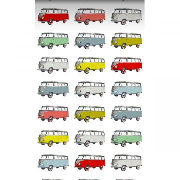 non-woven wallpaper XXL vintage volkswagen transporter vans yellow, blue, gray, red and green