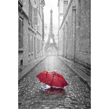 wall mural Paris black and white with red umbrella gray and red