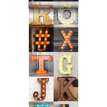 non-woven wallpaper XXL wooden light letters – marquee orange, beige, gray, red and blue
