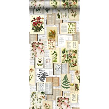 non-woven wallpaper XXL pages of a botanical book light cream beige, green, brown and mustard