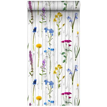 non-woven wallpaper XXL wild flowers on wooden vintage planks light warm gray, yellow, blue and candy pink