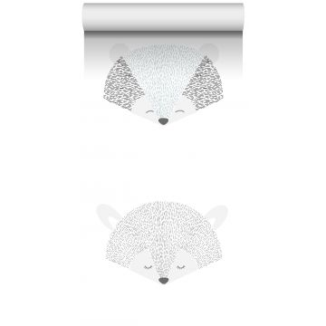 non-woven wallpaper XXL animal heads light gray and black