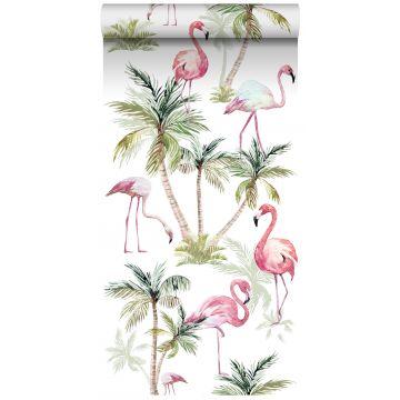 non-woven wallpaper XXL flamingos pink